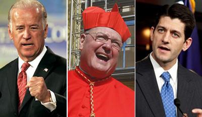 Joe Biden, Cardinal Dolan and Paul Ryan